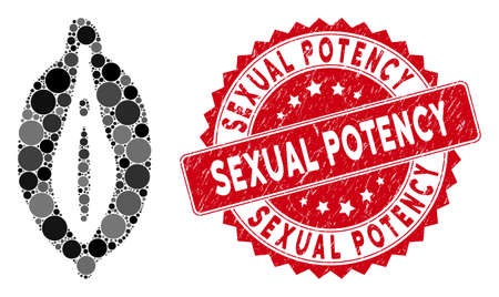 Collage female icon and distressed stamp seal with Sexual Potency phrase. Mosaic vector is composed with female icon and with randomized round spots.