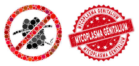 Mosaic no smoking redneck icon and corroded stamp seal with Mycoplasma Genitalium caption. Mosaic vector is created from no smoking redneck icon and with randomized spheric items.