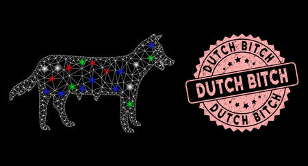 Bright mesh dog bitch with glare effect, and round pink Dutch Bitch watermark. White wire carcass polygonal mesh in vector format on a black background. Abstract illuminated model. Ilustración de vector