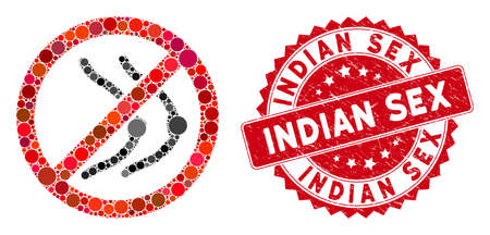 Collage no naked boobs icon and rubber stamp seal with Indian Sex text. Mosaic vector is formed with no naked boobs icon and with scattered circle spots. Indian Sex stamp seal uses red color, Standard-Bild - 137889338