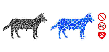 Dog bit ch mosaic of small circles in different sizes and color tints, based on dog icon. Vector random circles are combined into blue mosaic. Dotted dog bitch icon in usual and blue versions.
