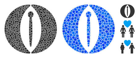 Female composition of small circles in various sizes and color tinges, based on female icon. Vector small circles are organized into blue illustration.