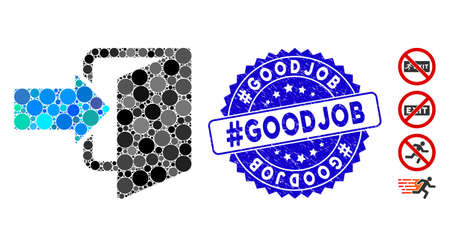 Mosaic exit door icon and corroded stamp seal with #Goodjob caption. Mosaic vector is composed with exit door icon and with randomized circle items. #Goodjob stamp seal uses blue color,
