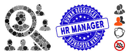 Mosaic find users icon and corroded stamp seal with Human Resources Hr Manager caption. Mosaic vector is created from find users icon and with scattered circle elements.