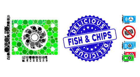 Mosaic GPU card icon and corroded stamp seal with Delicious Fish & Chips phrase. Mosaic vector is formed from GPU card pictogram and with randomized circle spots.