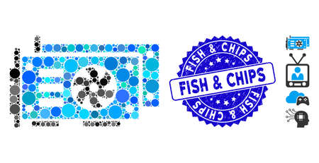 Mosaic GPU video cards icon and corroded stamp watermark with Fish & Chips text. Mosaic vector is formed with GPU video cards icon and with scattered round spots.