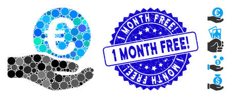 Mosaic Euro salary hand icon and rubber stamp seal with 1 Month Free! text. Mosaic vector is created with Euro salary hand icon and with scattered spheric items. 1 Month Free! stamp uses blue color,