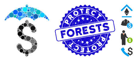 Mosaic financial roof icon and grunge stamp watermark with Protect Forests phrase. Mosaic vector is composed with financial roof icon and with randomized circle elements. Иллюстрация