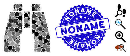 Mosaic find binoculars icon and grunge stamp seal with Noname phrase. Mosaic vector is designed from find binoculars pictogram and with scattered round items. Noname stamp seal uses blue color,