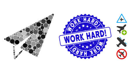 Mosaic freelance icon and grunge stamp watermark with Work Hard! phrase. Mosaic vector is composed with freelance icon and with randomized circle items. Work Hard! stamp seal uses blue color, Banco de Imagens - 138230687