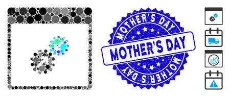 Mosaic gears integration calendar page icon and distressed stamp seal with MotherS Day phrase. Mosaic vector is composed with gears integration calendar page icon and with scattered round items.