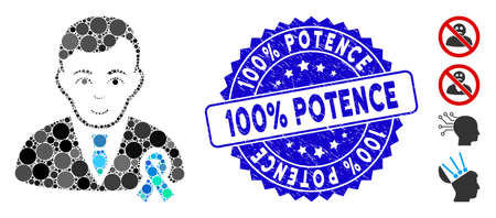 Mosaic gentleman with mourning ribbon icon and rubber stamp watermark with 100% Potence phrase. Mosaic vector is composed with gentleman with mourning ribbon icon and with randomized circle items.
