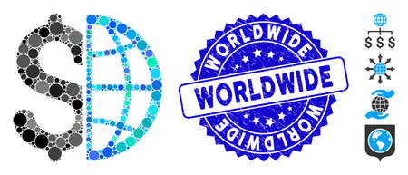 Mosaic global business icon and grunge stamp seal with Worldwide caption. Mosaic vector is composed with global business icon and with randomized round spots. Worldwide stamp uses blue color, Vektorové ilustrace