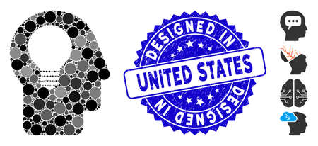 Mosaic head idea icon and rubber stamp seal with Designed in United States phrase. Mosaic vector is created with head idea icon and with random spheric spots.