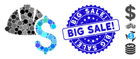 Collage helmet and dollar icon and rubber stamp seal with Big Sale! text. Mosaic vector is composed with helmet and dollar icon and with random spheric spots. Big Sale! stamp seal uses blue color,