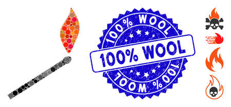 Collage match fire icon and grunge stamp seal with 100% Wool text. Mosaic vector is composed with match fire icon and with scattered round spots. 100% Wool stamp seal uses blue color,