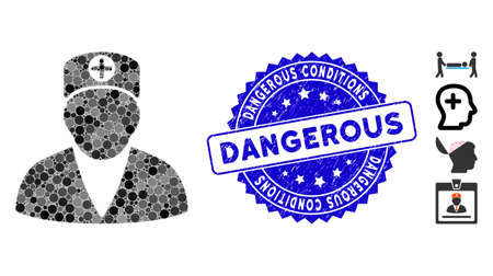 Collage medic person icon and grunge stamp seal with Dangerous Conditions phrase. Mosaic vector is composed with medic person icon and with scattered circle items.