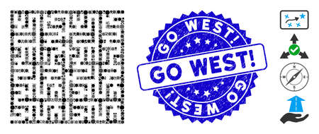 Mosaic labyrinth icon and distressed stamp seal with Go West! phrase. Mosaic vector is formed with labyrinth pictogram and with random circle spots. Go West! seal uses blue color, and grunged surface.