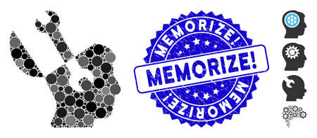Mosaic mind wrench tools icon and rubber stamp seal with Memorize! text. Mosaic vector is designed with mind wrench tools pictogram and with scattered spheric items. Illusztráció