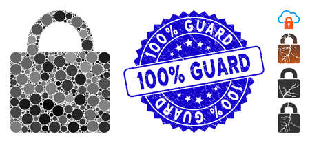 Collage lock icon and corroded stamp seal with 100% Guard caption. Mosaic vector is designed with lock icon and with randomized circle spots. 100% Guard stamp seal uses blue color,