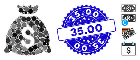 Mosaic money bag icon and grunge stamp seal with 35.00 caption. Mosaic vector is created with money bag icon and with randomized spheric elements. 35.00 seal uses blue color, and grunge design. 向量圖像