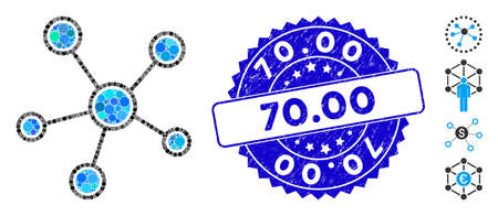 Mosaic network links icon and rubber stamp seal with 70.00 phrase. Mosaic vector is composed with network links icon and with randomized spheric elements. 70.00 stamp seal uses blue color, Illustration