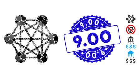 Icono de relaciones de red de mosaico y sello de sello corroído con título 9.00. El vector de mosaico se forma con el icono de relaciones de red y con puntos redondos dispersos. 9,00 sello de sello utiliza color azul,