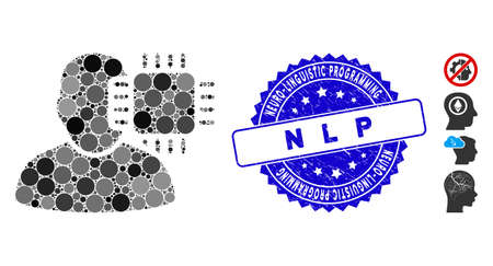 Mosaic neuro interface icon and corroded stamp seal with Neuro-Linguistic Programming N L P caption. Mosaic vector is designed with neuro interface icon and with randomized spheric elements. Vektorové ilustrace