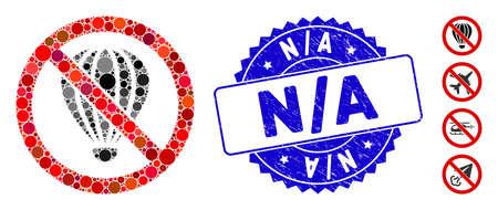 Collage sin icono de globo de aire y sello de sello corroído con frase N / A. El vector de mosaico se compone sin un icono de globo de aire y con puntos redondos dispersos. N / A sello de sello utiliza color azul,