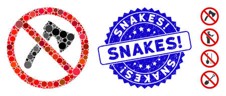 Mosaic no axe icon and corroded stamp seal with Snakes! caption. Mosaic vector is formed from no axe icon and with randomized circle spots. Snakes! stamp seal uses blue color, and grunge surface.