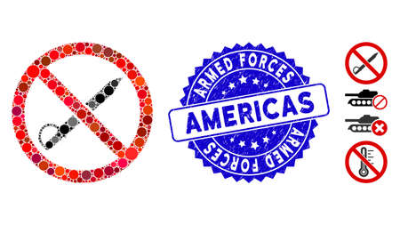 Collage no cold weapon icon and rubber stamp seal with Armed Forces Americas text. Mosaic vector is composed with no cold weapon icon and with scattered circle items.  イラスト・ベクター素材