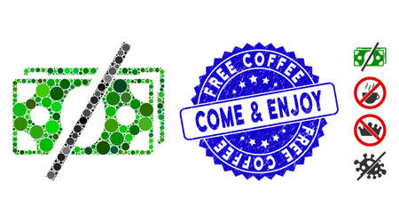 Collage no fees icon and distressed stamp seal with Free Coffee Come & Enjoy text. Mosaic vector is designed with no fees icon and with random circle items. Stock Illustratie