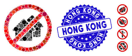 Mosaic no houses icon and rubber stamp watermark with Hong Kong text. Mosaic vector is composed with no houses icon and with scattered circle elements. Hong Kong stamp uses blue color,