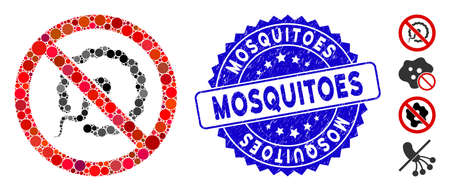 Mosaic no insemination icon and grunge stamp watermark with Mosquitoes phrase. Mosaic vector is created with no insemination icon and with random spheric items. Mosquitoes stamp seal uses blue color,