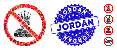 Mosaic no king icon and rubber stamp seal with Jordan text. Mosaic vector is designed with no king icon and with randomized circle items. Jordan stamp uses blue color, and scratched design. 向量圖像
