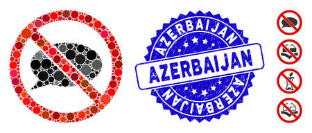 Mosaic no message icon and grunge stamp seal with Azerbaijan phrase. Mosaic vector is composed with no message icon and with scattered spheric spots. Azerbaijan stamp seal uses blue color, Ilustração