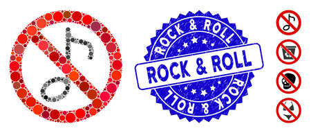 Mosaic no musical note icon and grunge stamp seal with Rock & Roll text. Mosaic vector is created from no musical note icon and with random round elements. Rock & Roll stamp seal uses blue color,