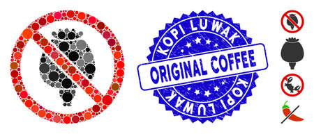 Mosaic no opium poppy icon and rubber stamp seal with Kopi Luwak Original Coffee caption. Mosaic vector is composed with no opium poppy icon and with randomized circle elements.