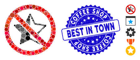 Mosaic no rating star icon and rubber stamp watermark with Coffee Shop Best in Town text. Mosaic vector is designed with no rating star icon and with random round items.