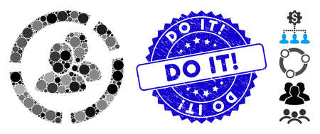 Mosaic people diagram icon and grunge stamp seal with Do It! caption. Mosaic vector is composed with people diagram icon and with randomized round spots. Do It! stamp uses blue color,