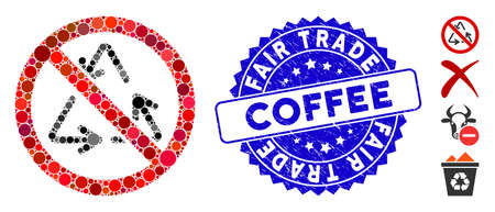 Mosaic no recycling icon and grunge stamp seal with Fair Trade Coffee phrase. Mosaic vector is formed with no recycling icon and with randomized circle items. Fair Trade Coffee seal uses blue color,