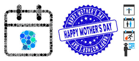 Mosaic personal day icon and rubber stamp watermark with Happy MotherS Day text. Mosaic vector is created with personal day icon and with scattered round spots.