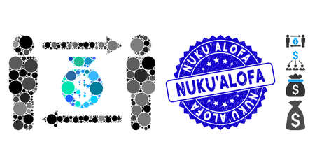 Mosaic persons exchange money bag icon and grunge stamp seal with Nuku'Alofa text. Mosaic vector is formed from persons exchange money bag icon and with scattered round items.
