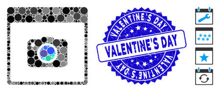 Mosaic photo camera calendar page icon and corroded stamp seal with ValentineS Day caption. Mosaic vector is created with photo camera calendar page icon and with random round items. Ilustrace