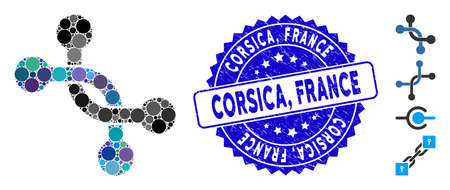 Mosaic overpass connection icon and grunge stamp seal with Corsica, France text. Mosaic vector is formed with overpass connection pictogram and with randomized spheric spots. Corsica,