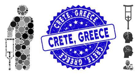 Icono de muleta paciente mosaico y sello de sello de goma con frase de Creta, Grecia. El vector de mosaico se forma con el icono de la muleta del paciente y con elementos circulares aleatorios. Creta, Grecia sello sello utiliza color azul, Ilustración de vector