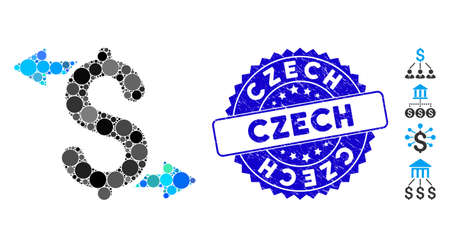 Collage payouts icon and rubber stamp seal with Czech phrase. Mosaic vector is designed with payouts icon and with randomized round items. Czech stamp seal uses blue color, and grunge design.