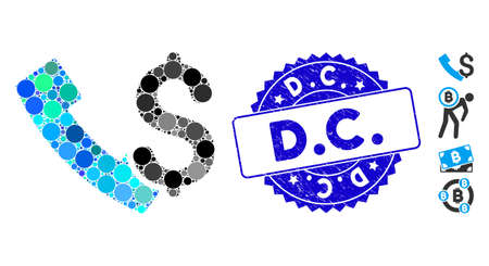 Mosaic payphone icon and corroded stamp seal with D.C. caption. Mosaic vector is formed with payphone icon and with randomized circle items. D.C. stamp uses blue color, and scratched design. Ilustração