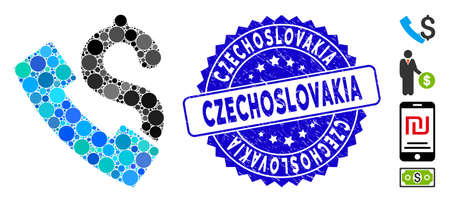 Mosaic payphone icon and grunge stamp seal with Czechoslovakia caption. Mosaic vector is created from payphone icon and with random circle items. Czechoslovakia stamp seal uses blue color,