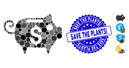 Mosaic piggy bank icon and distressed stamp seal with Save the Plants! phrase. Mosaic vector is formed with piggy bank icon and with scattered circle elements.  イラスト・ベクター素材